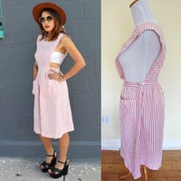 Vintage 60's CANDY STRIPERS pink white overalls apron day dress size S small