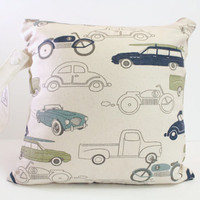 Heat Sealed Wet Bag 10 Inch x 10 Inch with Snap Strap, Canvas Fabric Vintage Car Navy and Olive on Natural Canvas Background