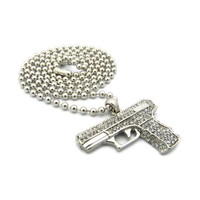 Pendant Silver Iced Out Hand Gun 27 Inch