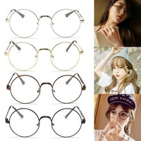 Big Round Metal Frame Clear Lens Glasses