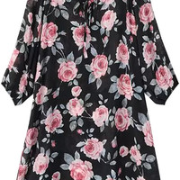 Floral Print A-Line Mini Dress with Sleeve