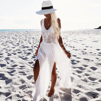 White Crochet Cut Out Sleeveless Chiffon Dress