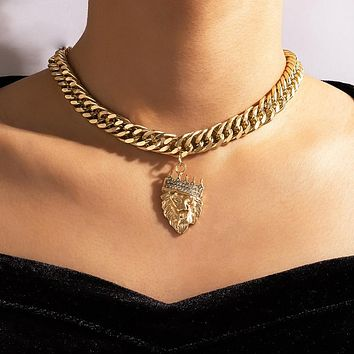 Lion Head Pendant Necklace for Women Thick Chain Gold Silver Color Alloy Metal Chain Choker Jewelry Collar