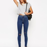 ASOS TALL Rivington High Waist Denim Jeggings In Sycamore Wash With Knee Rips