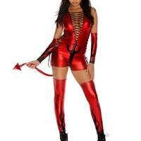 Sexy Red Devil 4pc V-Neck Lace Up Dark Fantasy Halloween Costume Small/Medium Adult Womens