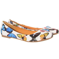 White Apothecary Insects Butterfly Ballet Flats
