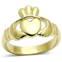 Gold  Stainless Steel Irish Claddagh Ring Heart Ring