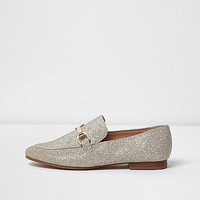 Gold slip on loafers