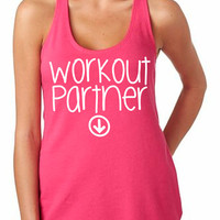 Workout Partner Tank Baby Pregnant Pregnancy Women's Gym Workout Fitness Funny Booty Funny Muscle