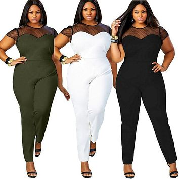 Plus Size Casual, Summer Women Jumpsuit O-Neck Patchwork Lace Jumpsuit Curvy  Romper