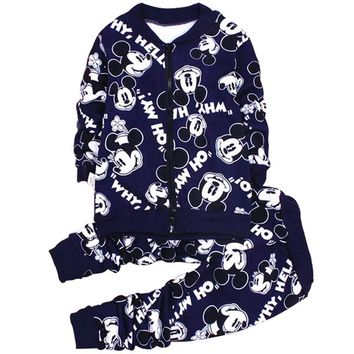 Winter Mickey Clothes for Baby Boys Girls Sets Warm Thick Zipper Coat + Pant 2pcs Suit Cartoon Girl Boy Sports Suit Kids Clothes