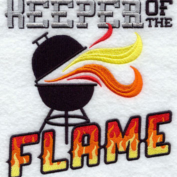 Keeper of the Flame Funny Embroidered BBQ Apron Father's Day Gift, Birthday Gift, Host Gift