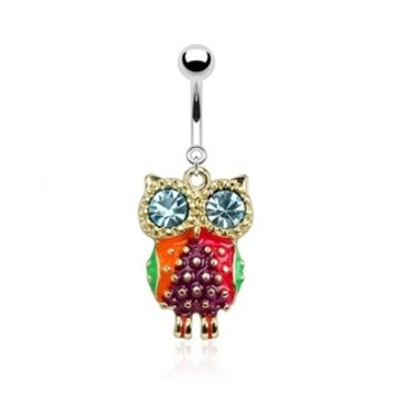 14g Dangling Vibrant Owl and Aqua Gem Eyes Belly Button Ring Dangle Navel Body Jewelry Piercing with Surgical Steel Curved Barbell 14 Gauge
