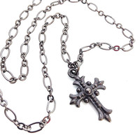 Black Cross Necklace, Black Chain Necklace, Black Cross Pendant, Gothic Cross, Black Goth Necklace, Cross Charm Necklace, Cross Jewelry