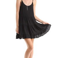 BLACK RUFFLED TIERED DRESS
