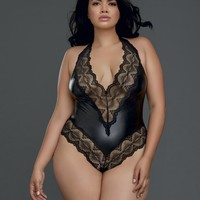Plus Size Wet Look & Lace Teddy