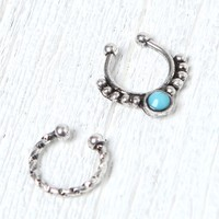 With Love From CA Stone Silver Septum Ring Set - Womens Jewelry - Silver - One