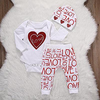 2016 baby girl clothes Flower Heart Pattern Long Sleeve Romper + pants+hat 3pcs suit newborn baby girl clothing set