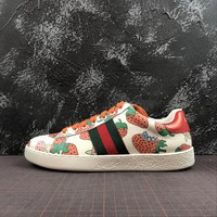 Ace Leather Sneaker With Gucci Strawberry Print - Best Online Sale