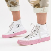Converse X Miley Cyrus Chuck Taylor All Star Hi Sneakers In White And Silver Glitter at asos.com