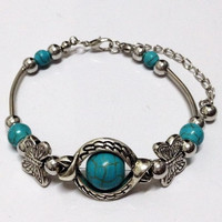 Bohemian Sky Eye TURQUOISE Stone Tibetan Silver vintage Bracelet Bangle jewelry Gift for Her (Color: Antique silver) = 1928537988