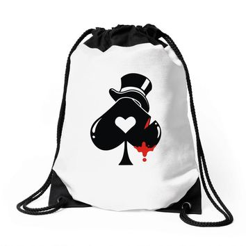 poker hat ace of spades Drawstring Bags