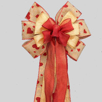 Red Heart Burlap Valentine's Day Bow