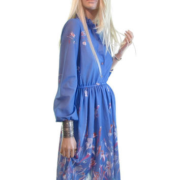 wild lily vintage 70s dress periwinkle floral dress dolly dress poet sleeve day hippie dress bohemian 70s clothing boho cocktail dress xs s