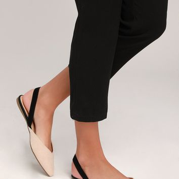 Mae Nude and Black Suede Pointed-Toe Slingback Flats