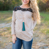 Layered In Lace Top, Mocha