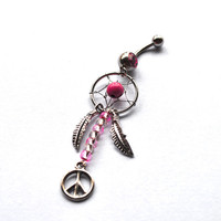 Pink Dreamcatcher Belly Button Ring, peace sign Navel Jewelry, belly ring, gypsy belly button ring, dreamcatcher jewelry, belly piercing