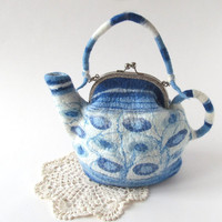 Felted tea  teapot  purse Blue white polka dot