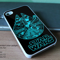 New Custom Design for iPhone 4, 4S, 5, 5S, 5C and Samsung Galaxy S3 & S4 - star wars milenium ship of star wars
