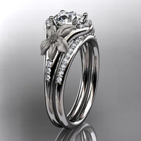 platinum diamond leaf and vine wedding ring,engagement ring ADLR91S nature inspired jewelry