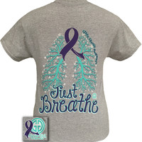 Girlie Girl Originals Just Breathe Cystic Fibrosis Awareness Purple Ribbon Bright T Shirt
