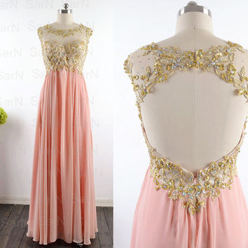 Peach Long Prom Dresses, Custom Peach Lace Straps and Chiffon  Long Formal Gown, Lace Straps Long Prom Gown