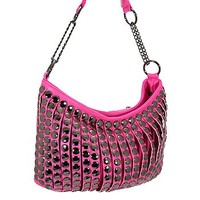 Trendy Studded Purse Fashion Slouch Bag Fuchsia