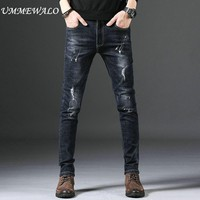 UMMEWALO Stretch Skinny Jeans Men Casual Ripped Denim Jeans Male Slim Fit Cotton Quality Jean Pants Trousers M11