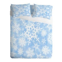 DENY Designs Home Accessories   Lisa Argyropoulos Snow Flurries in Blue Sheet Set