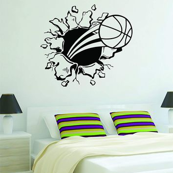Basketball Burst Wall Decal Quote Vinyl Sticker Decor Bedroom Living Room Teen Kids Nursery Sports NBA Ball is Life Dunk