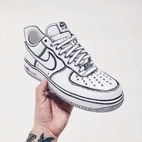 Nike Air Force 1 Comics 3D Pencil Graffiti Customize Sneakers Sport Shoes