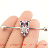 owl industrial barbell piercing,glitter owl industrial barbell earring jewelry, owl ear jewelry,friendship jewelry,oceantime