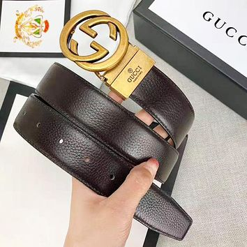 GUCCI New fashion letter buckle leather couple belt Coffee With Box