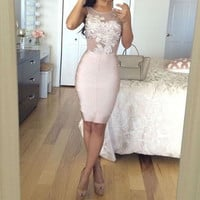 Hot Sale Prom Dresses Pink Satin Straight Cocktail Dresses 2017 Scoop Lace Tank Knee Length Formal Party Gowns