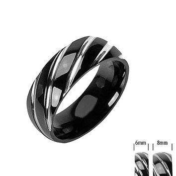 Vortex - FINAL SALE Twister Sliding Alternative Design Black Titanium Comfort Fit Ring