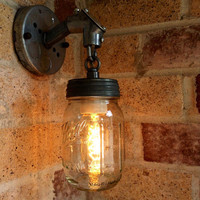 JAR OF LIGHT- Pint Mason Jar Light, Rustic Industrial wall sconce lantern with galvanized metal conduit and chain, Edison light