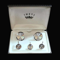 Swank Sterling Round Cuffs Link And Shirt Stud Set, Suit And Tuxedo Accessories, Gift For Him