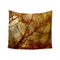 """Sylvia Coomes """"Gothic Red Tree"""" Gold Nature Wall Tapestry"""