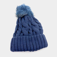 Women's Navy Blue Cabled Knit Faux Fur Pom Pom Beanie Hat
