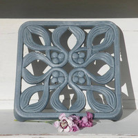 Vintage blue gray enamel trivet, french art deco iron trivet, french farmhouse, country cottage, french country home, shabby chic kitchen,